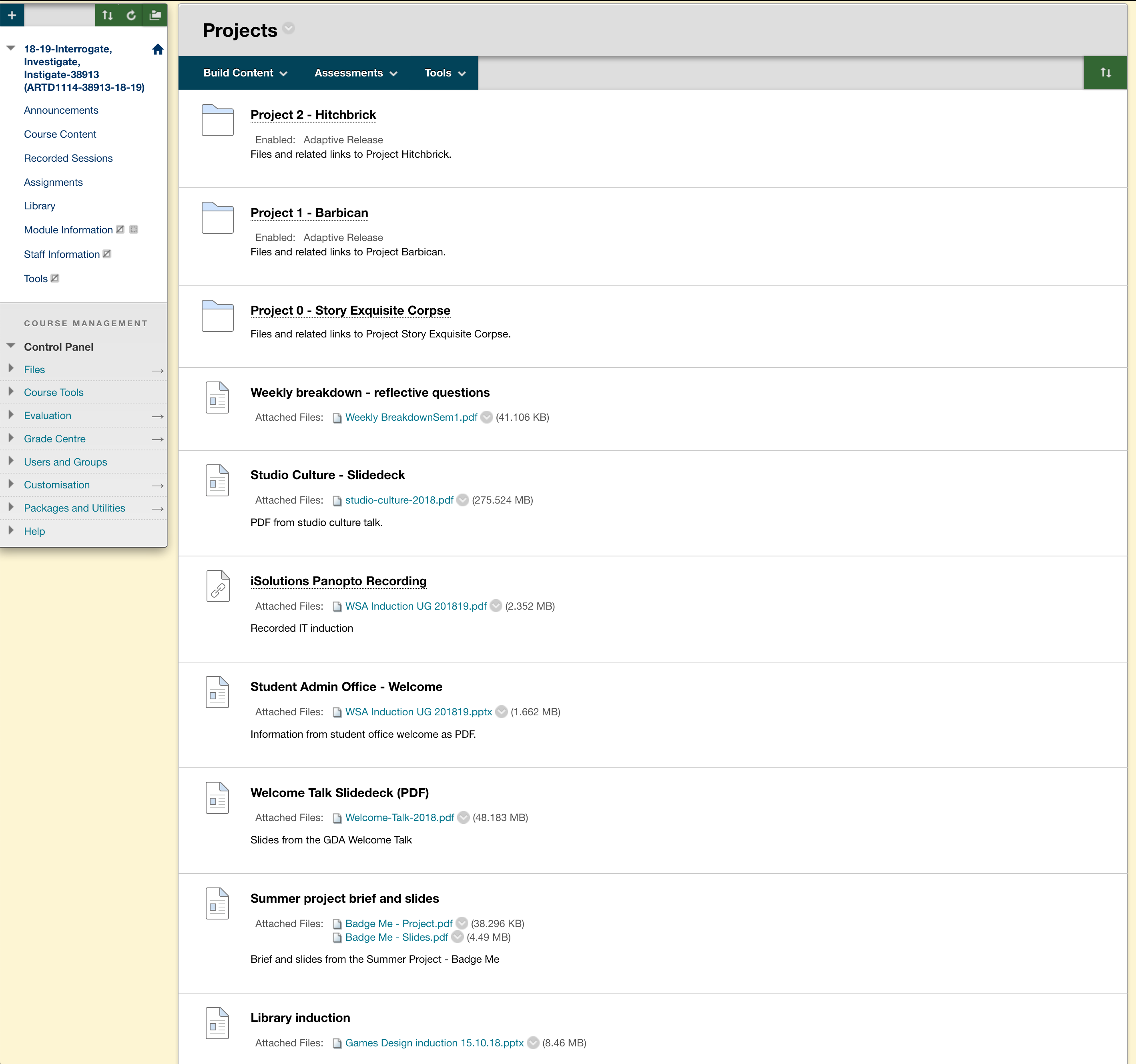 Figure 6: Shows the folder and files structure from within Blackboard